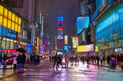 Times Suare. Times Square the first 2010 night and snow Royalty Free Stock Images