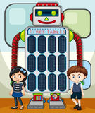 Times tables chart with kids and robot in background Royalty Free Stock Photography