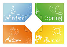 Times of the year. Four cards with the symbols of the seasons Stock Photo
