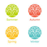 Times of the year. Seasons. Illustration with tree. Image for posters, banners, cards, and other design projects Royalty Free Stock Photo
