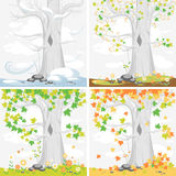 Times of the year. Seasons. Scenery with maple tree. Illustration for posters, banners, cards, and other design projects Royalty Free Stock Photos