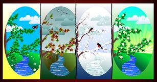 Times of the year (Vector). Vector set of pictures on the theme of seasons Royalty Free Stock Photography