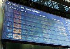 Timetable. Display screen of arrivals and departures at station or airport Royalty Free Stock Images