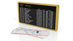 Timetable and airplane tickets. 3D rendering of airport timetable with two tickets on white background Stock Photography