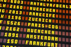 Timetable at the airport Stock Images