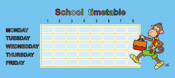 Timetable, ape. School timetable with monkey. Humorous illustration Stock Images
