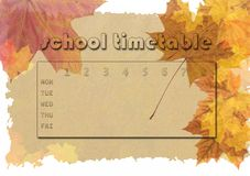 Timetable - autumn theme Stock Image