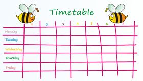 Timetable-bees. School timetable for kids - theme bees vector illustration