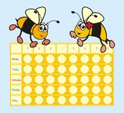 Timetable - bees Royalty Free Stock Images
