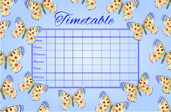 Timetable butterflies Parnassius vector Royalty Free Stock Photo