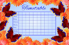 Free Timetable Butterfly Nymphalis Antiopa Vector Royalty Free Stock Photos - 53355688