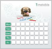 Timetable with cute puppy Royalty Free Stock Images