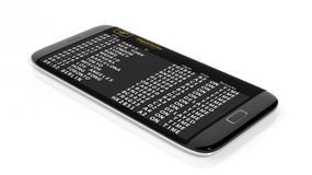 Timetable data on cell screen Royalty Free Stock Images