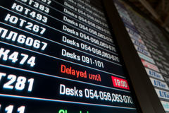 Timetable digital board at an airport Stock Photos