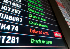 Timetable digital board at an airport Stock Photography