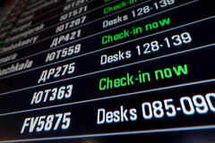 Timetable digital board at an airport Royalty Free Stock Images