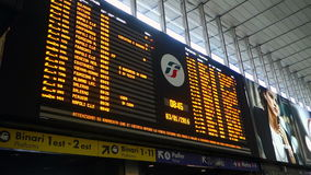 Timetable Display at Termini Railway Station in Rome Italy stock video footage