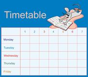 Timetable - mice. Timetable for pupils to school. Figure mice with primer Stock Image