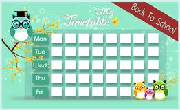 Timetable with owls Royalty Free Stock Photo