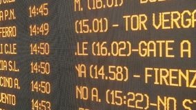 Timetable railway station closeup information display. Timetable railway station close up information display stock video footage