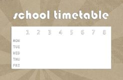 Timetable - recycled paper. School timetable on recycled natural paper background vector illustration