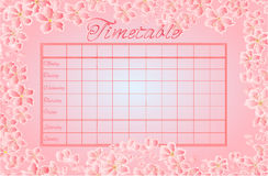 Timetable with sakura vector Royalty Free Stock Images