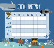 Timetable. School schedule on underwater world. Days of week. sk Royalty Free Stock Photos