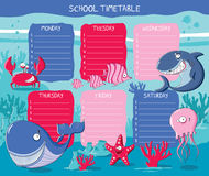 Timetable sea animals Stock Photography