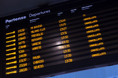 Timetable shows cancelled trains during strike. MILAN, ITALY - NOVEMBER 6, 2015: Timetable shows cancelled trains at the Milano Porta Garibaldi railway station Royalty Free Stock Images