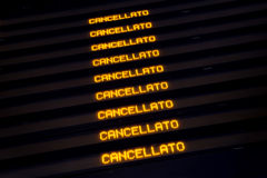Timetable shows cancelled trains during strike. Royalty Free Stock Photos