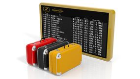 Timetable with three suitcases of different colors Royalty Free Stock Photography