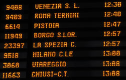 Timetable train timetable, Italy Royalty Free Stock Image