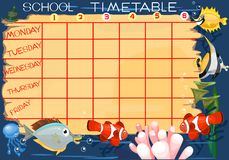 Timetable with Underwater World. Timetable with marine aquarium tropical fish Royalty Free Stock Photo