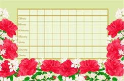 Timetable weekly schedule with Camellia Japonica  vintage vector Illustration editable Royalty Free Stock Photos
