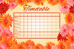 Timetable weekly schedule with gerberas vector Royalty Free Stock Photos