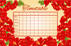 Timetable weekly schedule with hibiscus vector Stock Photography