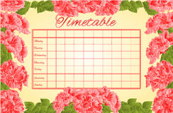 Timetable weekly schedule with pink hibiscus vector Royalty Free Stock Image