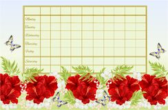 Timetable weekly schedule with red hibiscus flowers with jasmine and butterfly vintage vector Illustration editable Stock Images