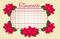 Timetable weekly schedule with red rhododendron vector Stock Image