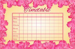 Timetable weekly schedule with rhododendron vector Stock Photo