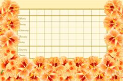 Timetable weekly schedule with Spring flowers watercress vegetable vintage vector Illustration editable Royalty Free Stock Photography