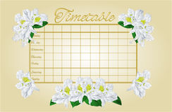 Timetable weekly schedule with white rhododendron vector Royalty Free Stock Photography