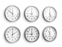 Timezone clocks showing different time Royalty Free Stock Images