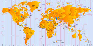 Timezone map Stock Photography