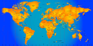 Timezone map. World timezone map vector illustration Stock Photos