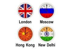 Timezone wall clocks Stock Photos