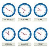 timezones för klockaframsidor Arkivbilder