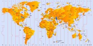 Timezoneöversikt Arkivbild