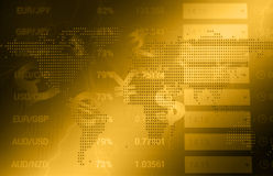 Timglas, dollar och euro Royaltyfria Bilder