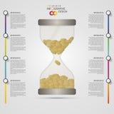 timglas Infographics designmall modern affärsidé också vektor för coreldrawillustration stock illustrationer